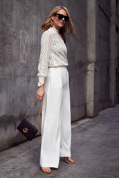 fashionjackson,blogger,top,pants,shoes,bag,sunglasses,jewels,wide-leg pants,white blouse,gucci bag