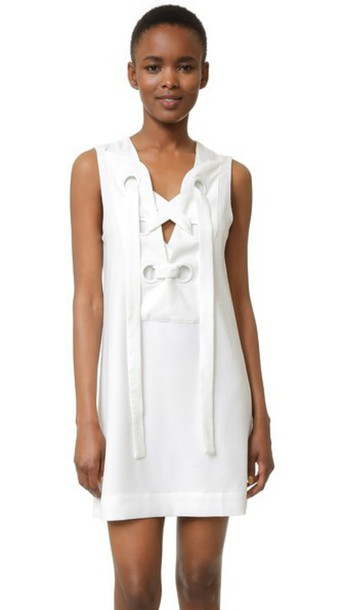 English Factory Lace Up Front Dress - White