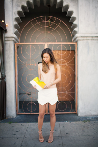 bag shoes tank top skirt fashion toast yellow bag white skirt