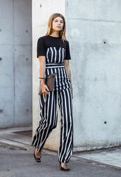 top,tumblr,stripes,striped top,tube top,pants,wide-leg pants,striped pants,pumps,high heel pumps,t-shirt,black t-shirt,shoes,bag,work outfits,office outfits