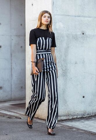 top tumblr stripes striped top tube top pants wide-leg pants striped pants pumps high heel pumps t-shirt black t-shirt shoes bag work outfits office outfits