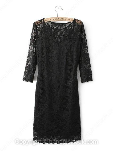 Black Round Neck Half Sleeve Hollow Lace Dress - HandpickLook.com