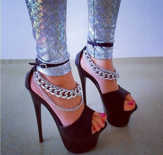 shoes high heels chain pants