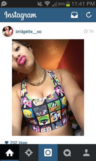 shirt looney toons instagram cartoon tank top