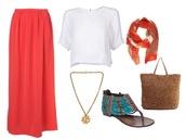 skirt,maxi skirt,white top,bag,sandals