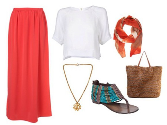 skirt white top maxi skirt bag sandals