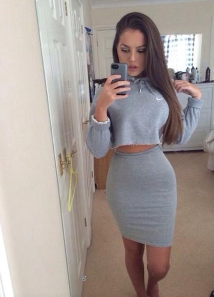 grey jumper top winter outfits jacket hoodie skirt