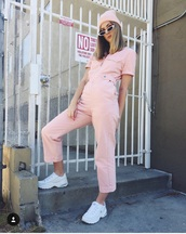 jumpsuit,pink,short sleeve,suede,one piece,cool,pants,top