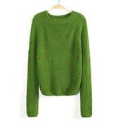 cropped sweater,green,short sweats,knitwear,sweater