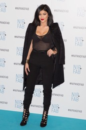 coat,top,sheer,kylie jenner,boots,all black everything,shoes,jewels