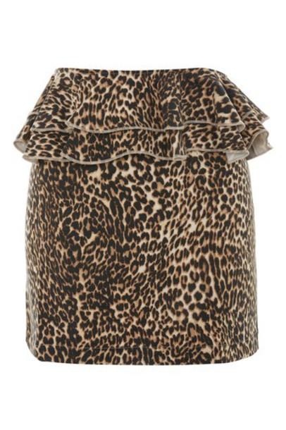 Topshop skirt mini skirt mini ruffle print brown leopard print