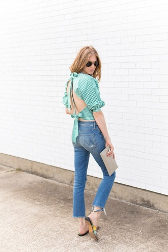 top backless gingham shoes slide shoes open back backless top jeans denim blue jeans spring outfits