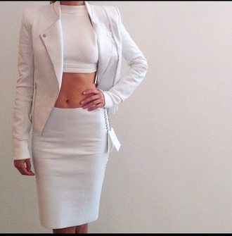 skirt white skirt white crop tops white jacket tumblr outfit