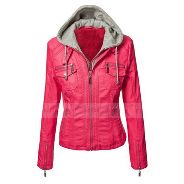 Jacket: black leather jacket, pink faux leather jacket, womens ...