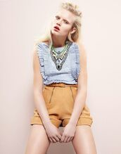 top,blue top,ruffle,ruffled top,pastel,blonde hair,grazia,pastel blue,editorial,High waisted shorts,spring outfits,cute outfits,statement necklace,light blue,shorts