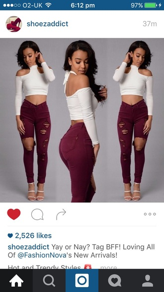 jeans burgundy ripped jeans