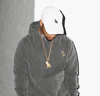 drake hoodie owl grey gold mens sweater menswear
