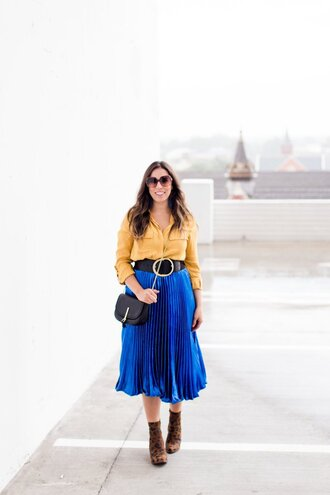 bohostylefile blogger top skirt shoes belt bag jewels fall outfits yellow shirt shirt blue skirt pleated skirt midi skirt ankle boots