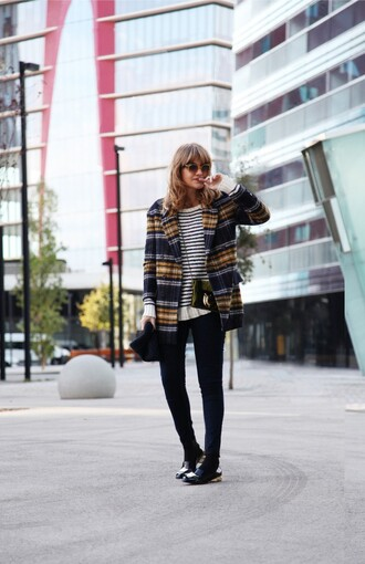 my daily style coat sweater jeans bag sunglasses shoes