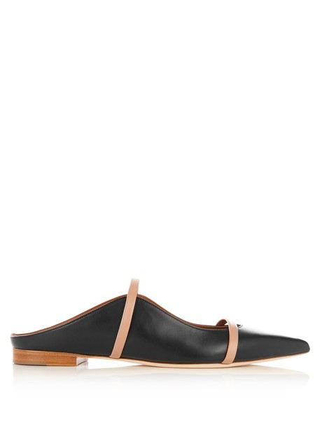 MALONE SOULIERS backless flats leather flats leather nude black shoes