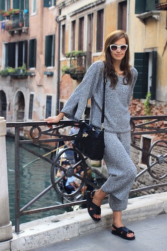 fashion quite blogger knitwear slide shoes grey sweater zara