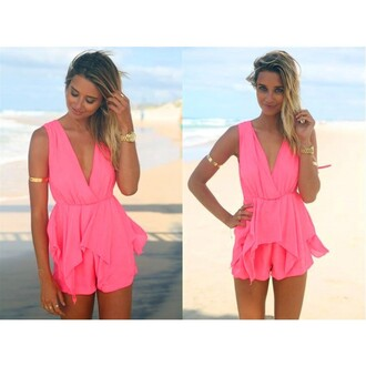 jumpsuit pink sexy v neck sleeveless chiffon lacing pleated backless sweet sexy jumpsuit party evening lady sexy clothing best outfit outfit pink girl party dress sexy party dresses jewels