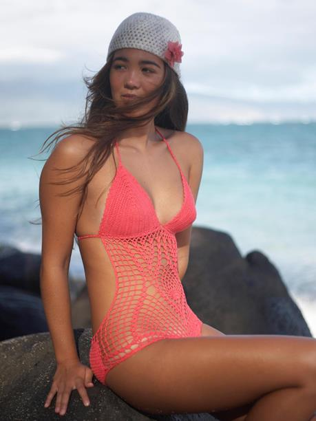 Beauty and the Beach - Original Crochet Swimsuit - Coral Pink | VAULT
