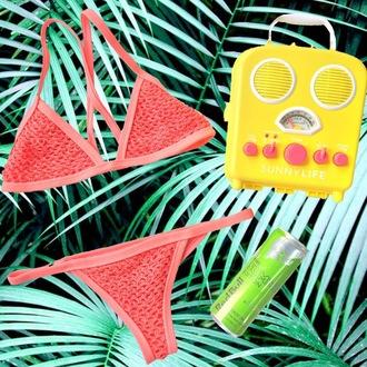 swimwear posh pua coral crochet bikini