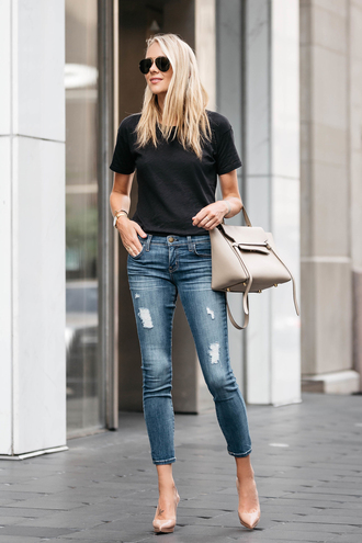 fashionjackson blogger top jeans shoes bag sunglasses jewels black t-shirt handbag pumps high heel pumps spring outfits