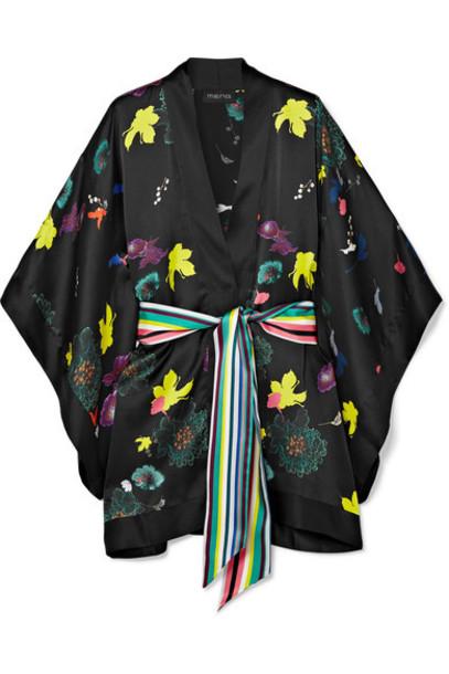 MENG kimono black silk satin top