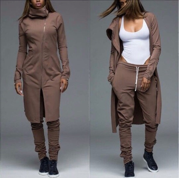 coat matching set joggers jacket
