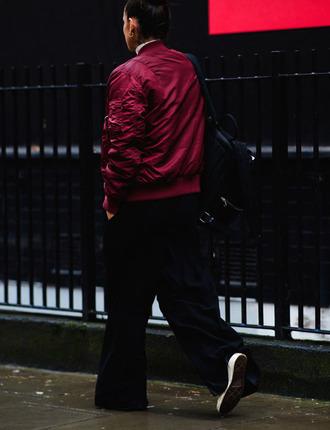 jacket tumblr burgundy burgundy jacket pants black pants wide-leg pants sneakers fashion week 2017 streetstyle backpack black backpack