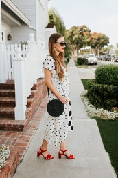 shoes,sandal heels,red shoes,polka dots,bag,sunglasses