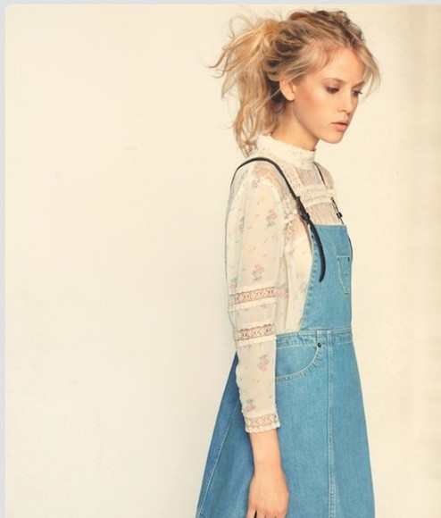 vintage jeans denim classic short blouse lace denim dress