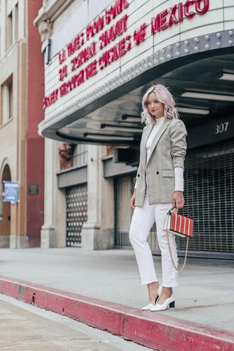 late afternoon blogger jacket top jeans shoes bag blazer pumps white pants spring outfits