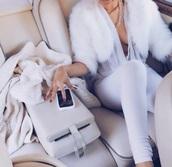 jacket,faux fur,coat,white coat,fashion,jumpsuit,blouse,pants,top,white,fur,sheer,halter neck,cropped jacket,bolero