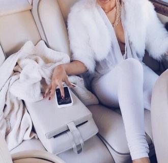 jacket faux fur coat white coat fashion jumpsuit blouse pants top white fur sheer halter neck cropped jacket bolero