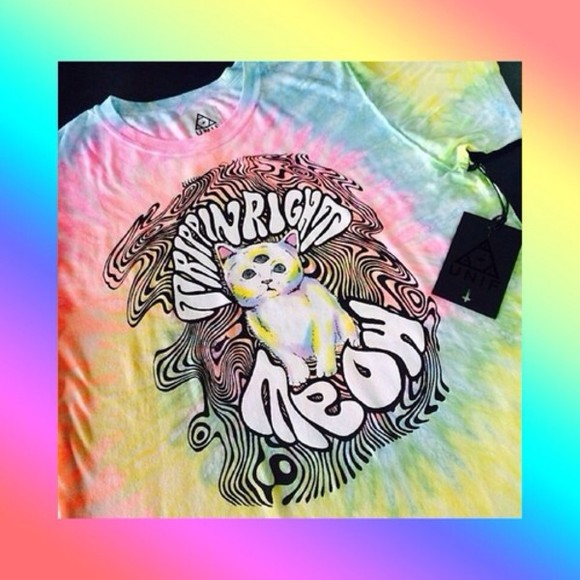 unif shirt cats trippy tiedie high