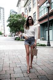 for all things lovely,blogger,top,shorts,bag,sunglasses,shoes,jewels,denim shorts,summer outfits