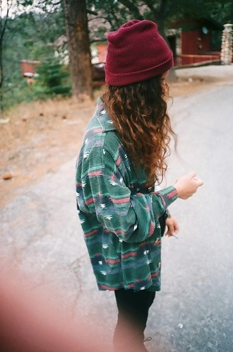 blouse aztec indian hippie hipster bohemian style navajo boho grunge beanie boy bag hat forest green cardigan shirt indie cool blue shirt blue turquoise pattern sweater trees trendy jacket 90s green shirt green oversized shirt tribal red white maroon summer fall spring hipstet big green flannel with design maroon bernie