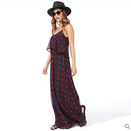 Sexy plaid backless chiffon harness maxi dress · favor · online store powered by storenvy