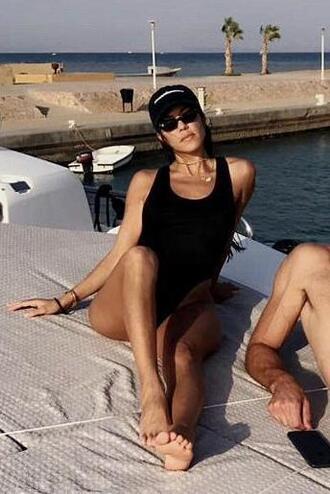 swimwear black black swimwear one piece swimsuit cap snapchat kourtney kardashian kardashians