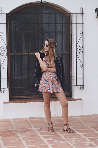 romper black jacket sunglasses tumblr pattern sandals flat sandals jacket leather jacket shoes