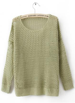 Green hollow kint sweater  s000218