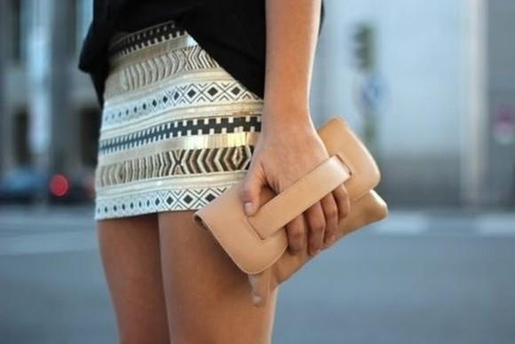skirt aztec print skirt pattern print minj mini tribal pattern mini skirt cute fashion white gold