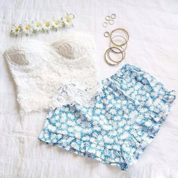 blouse white blouse top flower crown floral lace daisy shorts