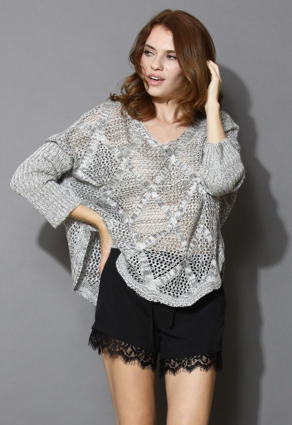 chicwish grey adventure hollow knit