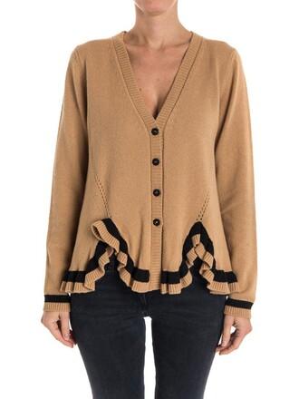 cardigan wool knit camel sweater