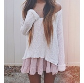 skirt,shirt,sweater,slouchy sweater,dress,polka dots,knitted sweater,pink dotted,pretty,jada,jada dress,pink,dotted,jumper,cozy,cozy sweater,vintage,cute,long hair