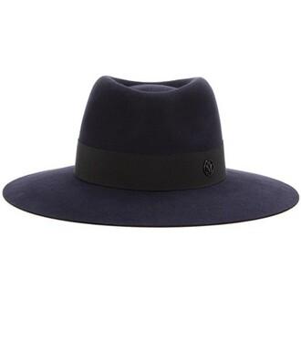 fur fedora blue hat